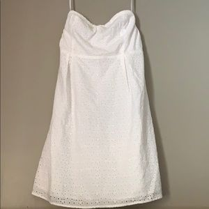 Strapless white eyelet dress
